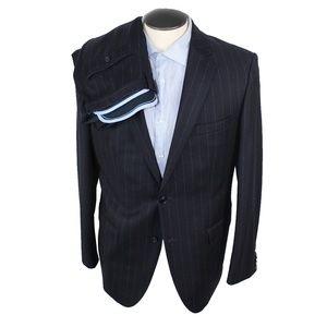 Hugo Boss navy pinstripe suit cashmere wool 40RUS